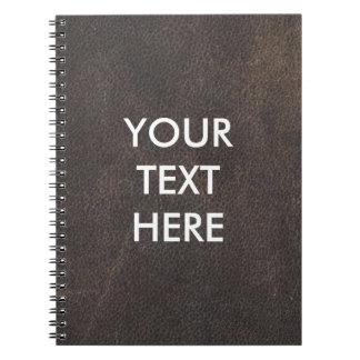 Customizable Dark Brown Leather Background Notebook