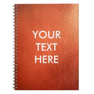 Customizable Dark Orange Leather Background Spiral Notebook