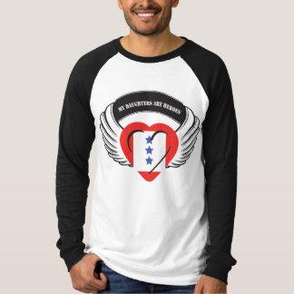 Customizable Daughter Flying Heart 3 Blue Stars T-Shirt