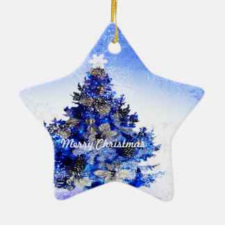 Customizable decorated blue christmas tree ceramic ornament