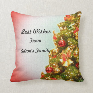 Customizable decorated Christmas tree Throw Pillow