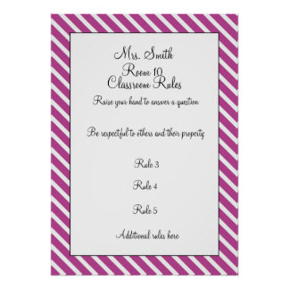 CUSTOMIZABLE Decorative Classroom Rules Poster