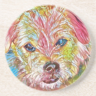 Customizable Design With Digital Drawing Of Dog Sandstone Coaster