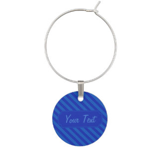 Customizable Diagonal dark cobalt blue Stripes Wine Charm