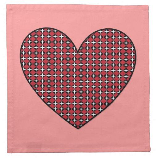 Customizable Diamond Heart Printed Napkin