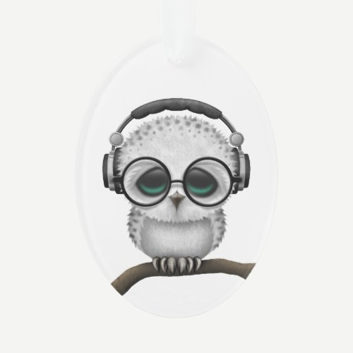 Customizable Dj Owl with Headphones and Glasses Ornament