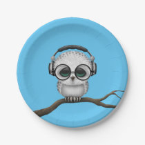 Customizable Dj Owl with Headphones and Glasses Paper Plate