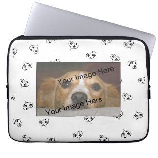 Customizable Dog Breed Hearts and Paw Prints Laptop Sleeve