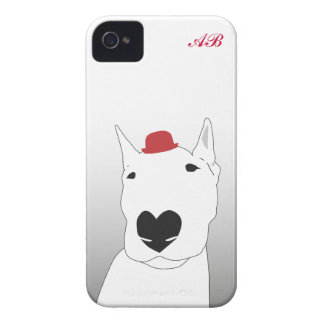 Customizable: Dog in a red bowler hat iPhone 4 Covers