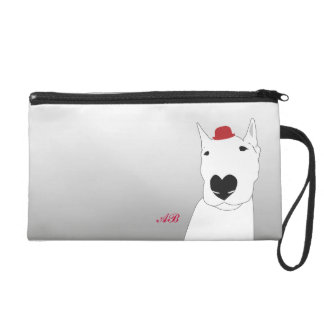 Customizable: Dog in a red bowler hat Wristlet Purse