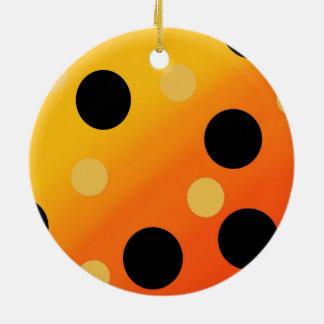 Customizable Dots On Blended OrangeToYellow Ceramic Ornament