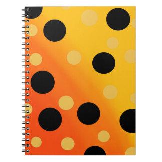 Customizable Dots On Blended OrangeToYellow Spiral Notebook