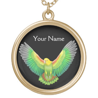 Customizable Double Yellow Head Amazon Parrot Neck Gold Plated Necklace
