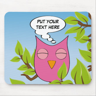 Customizable dreaming owl - multiple colors mouse pad
