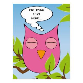 Customizable dreaming owl - multiple colors postcard