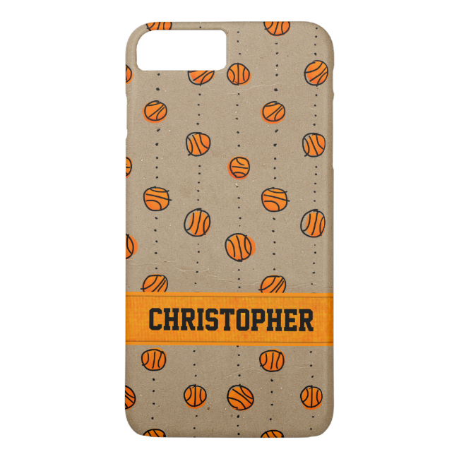 Customizable Dribbling Basketball Pattern iPhone 7 Plus Case
