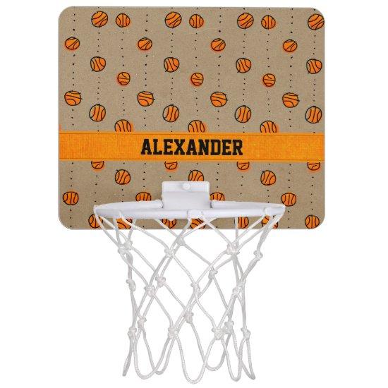 Customizable Dribbling Basketball Pattern Mini Basketball Hoop