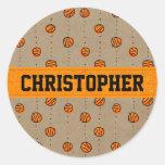 Customizable Dribbling Basketball Pattern Classic Round Sticker