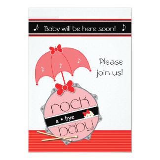 Customizable Drummer Baby Shower invitation - Red