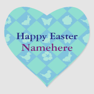Customizable: Easter blue diamonds Heart Sticker