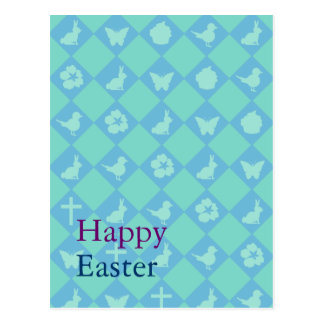 Customizable: Easter blue diamonds Post Cards