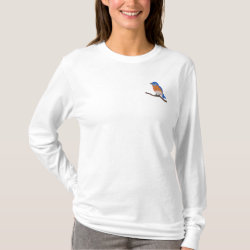 Customizable Eastern Bluebird Embroidered Long Sleeve T-Shirt