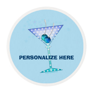 CUSTOMIZABLE EDIBLE FROSTING SHEETS, BLUE MARTINI EDIBLE FROSTING ROUNDS
