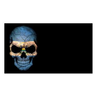 Customizable El Salvador Flag Skull Business Card