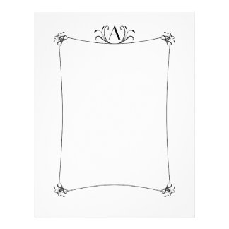 Customizable Elegant Border With Monogram Letterhead