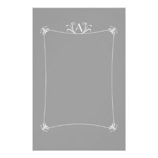 Customizable Elegant Border With Monogram Stationery