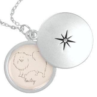 Customizable Elegant Drawn American Eskimo Dog. Locket Necklace