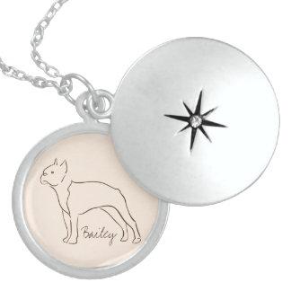 Customizable Elegant Drawn Boston Terrier Dog. Locket Necklace