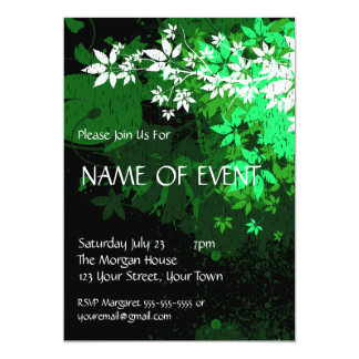 Customizable Elegant Green and White Foilage Personalized Invites