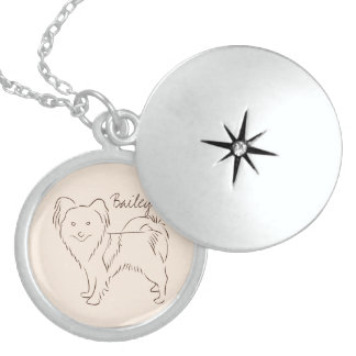 Customizable Elegant Hand Drawn Papillon Dog. Sterling Silver Necklace