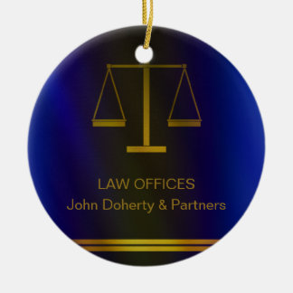 Customizable | Elegant Scales of Justice Ceramic Ornament