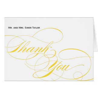 Customizable Elegant Script Thank You Card - Yello