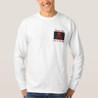 Customizable Embroidered Pirate Flag Tees, Sweats Embroidered Long Sleeve T-Shirt