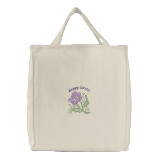 Customizable Embroidered Purple Flower Tote Bag
