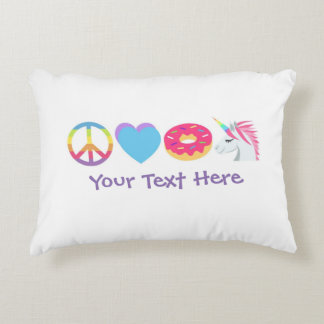Customizable Emoji Pillow - Peace, Love, Unicorns