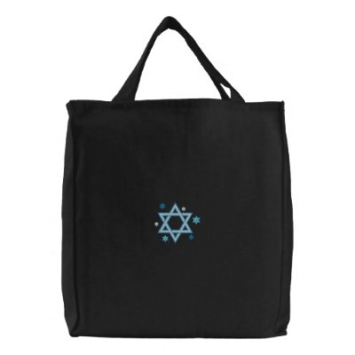 Customizable Emrboidered Star of David Tote Bags