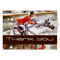 equestrian, note cards, horses, thank you card, pferde, red, brown, sport, athletes, animals, riding, mustangs, trakehner, jumper, watercolors, advertising, colorful, fine art, art, artistic, graphics, customizable, modern, stylish, ooak, contemporary, unique, Card with custom graphic design