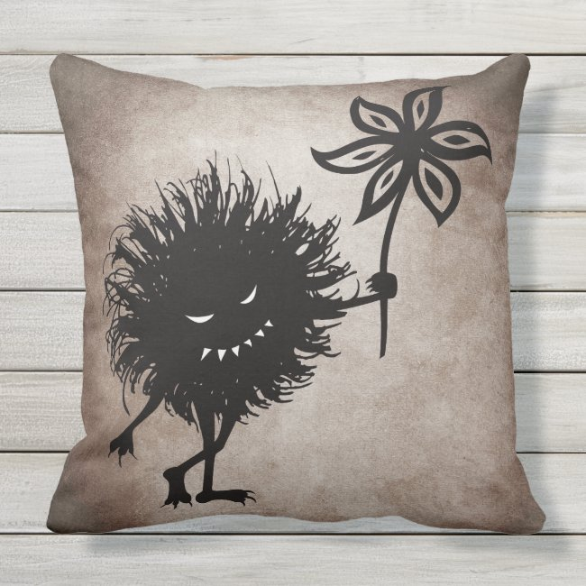 Customizable Evil Bug Gives Flower Vintage Gothic Outdoor Pillow