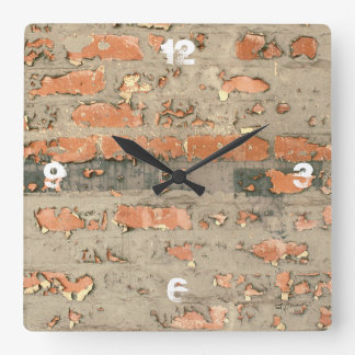 Customizable Exposed Red Brick Square Wall Clock