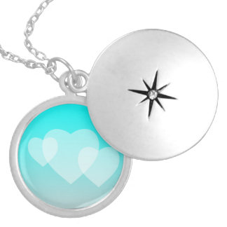 Customizable Fade: Cyan Silver Plated Necklace