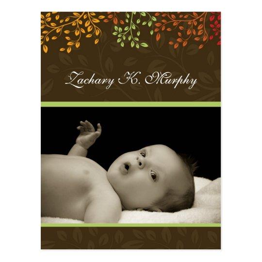 Customizable Fall  Birth Announcement Template Postcard