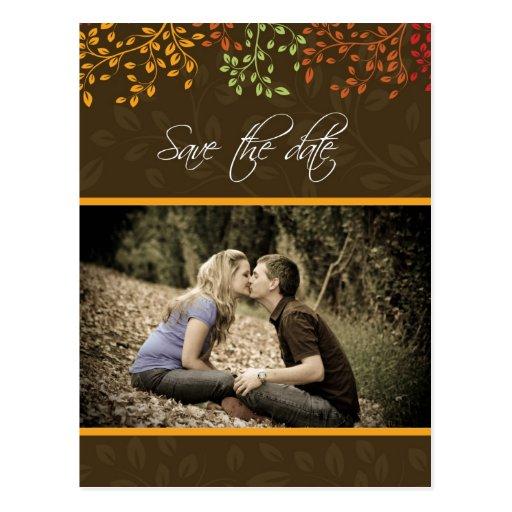 Customizable Fall Save the Date Wedding Invitation Post Card