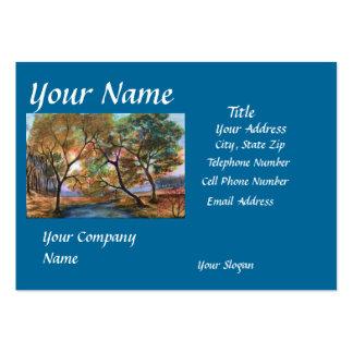 Customizable Fall Trees Blue Business Card