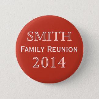 Customizable Family Reunion Red Pinback Button