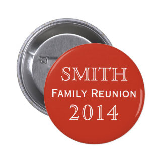 Customizable Family Reunion Red Pinback Button