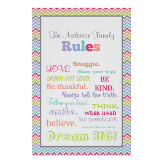 Customizable Family Rules Poster | Chevron Stripes